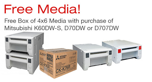 Free media with the purchase of Mitsubishi photo printer
