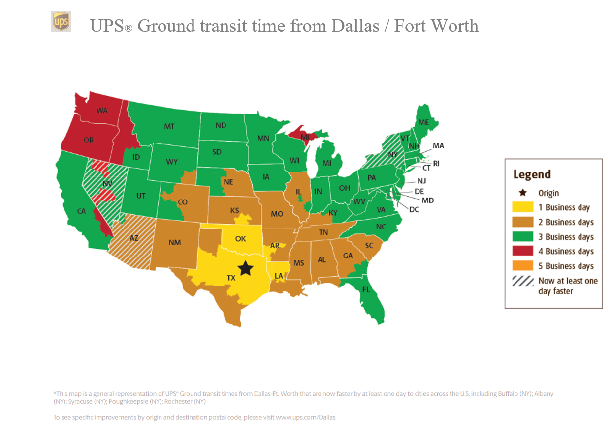 UPS Outbound Shipping Map