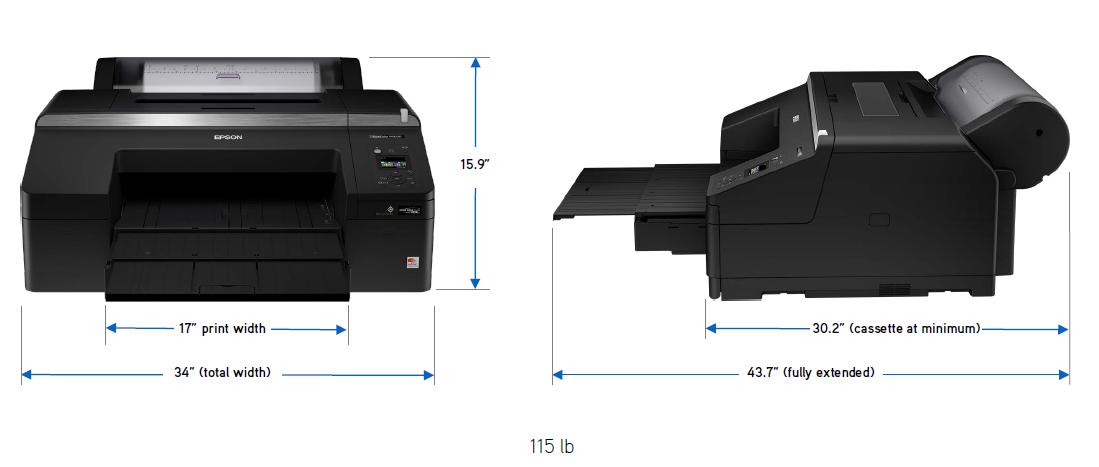 epson p5000ce dimensions